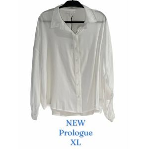 🆕  Prologue Long Sleeve White button up blouse XL